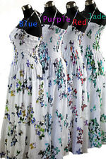 New Ladies Dress Maxi Butterfly Cotton One Size 10 12 14 16 Shabar Purple Red
