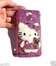 3D Pink hello kitty pearls Apple iPhone Samsung crystal case bling diamond cover