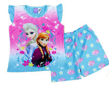 NEW Sz 3~8 GIRLS SUMMER PYJAMAS DISNEY FROZEN PJ KIDS PJS SLEEPWEAR NIGHTIE TOP