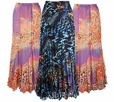 Lovely Women Black Blue Orange Abstract Print Plus Size Maxi Skirt Size 10 - 32