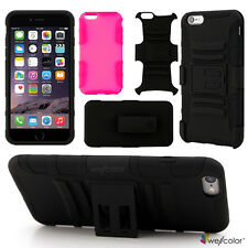 Rugged Hybrid Dual Layer Case Cover Belt Clip Holster Kickstand for iPhone 6/6+