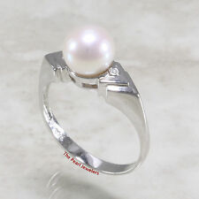 14k Solid White Gold AAA White Genuine Cultured Pearl & 2 Diamond Solitaire Ring