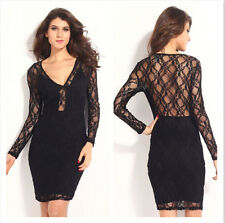Women Sexy Bodycon Lace V-neck Long Sleeve Sheer Mini Dress Ladies Fashion Black