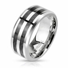 """mens ladies Ring silver """"Double Black Carbon"""" stainless steel jewelry"""