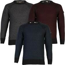 New Mens Dissident Jago Raglan Textured Knitted Pullover Jumper Top Size S-XL