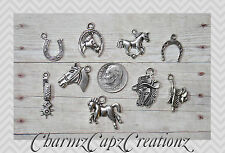 9pc Horses Silver Charm Set Lot Collection/Rings,Clasps+/Horse Country Western