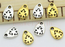 15/60/300pcs Tibetan Silver Mini Recyclable Swing Jewelry Charms Pendant 10x7mm