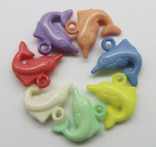 Wholesale 30/100pcs Mixed candy colors dolphins acrylic Charm pendant 20x22mm