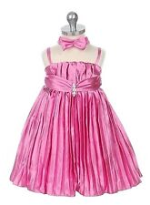NEW Satin Pleated Rhinestones Strap A-line Pink Flower Girl Dress and Headband