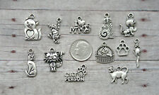 10 pcs Cat Charm Set Lot Collection/Silver/ Cat Lover I Love My Cat Kitty Kitten