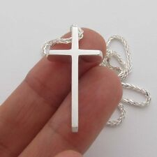 SCP114-SC  Cross Sterling Silver 925 Solid Pendant   Chain 2 mm