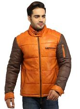 The Crabrocks Men's Puffer Down Leather Jacket