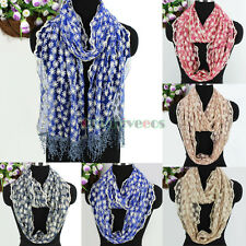 Fashion Women's Floral Embroidery Lace Tassel Polyester Long/Infinity Scarf New