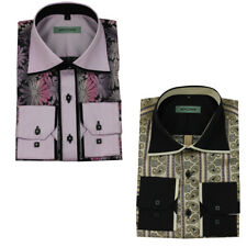 Mens Long Sleeves Cream Pink Paisley Floral Italian Dress Casual Fashion Shirts