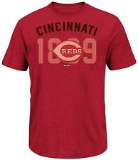 Cincinnati Reds Majestic 3 Base Hit Mens Red Heather Shirt Big & Tall Sizes