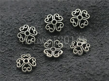 50/200/1000pcs Tibetan Silver Hollow Flower Bead Caps Charms Beads Cap 7.5mm