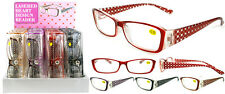 Plastic Color Reading Glasses with Heart Design in Hard Plastic Case