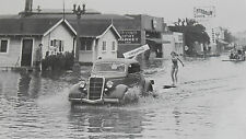 """12 By 18"""" Black & White Picture 1935 Ford pulling skiers in flood water 1935"""