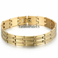 Men's Fashion Smooth Silver Gold Bracelet Bangle Stainless Steel Chain Link Cuff