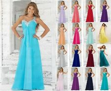 2017 Chiffon Beads Bridesmaid Dress Evening Formal Party Ball Gown Prom Size6-18