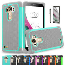 Color Heavy Duty Hybrid Rugged Hard Matte Case Cover For LG G3 G4 Screen Guard