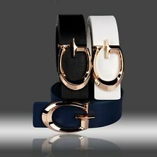 """2016 Fashion Mens/Womens Leather Alloy Smooth Letter """"G"""" Buckle Waist Wide Belts"""