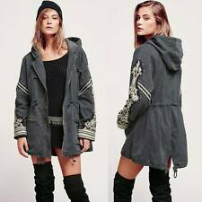 Classic Women's Embroidered Military Parka Trench Coat Overcoat Jacket Pockets