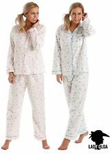NEW Winceyette 100% Brushed Cotton Floral PYJAMAS SET pjs Blue or Pink 660