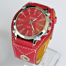 SOKI Brand Red Color Analog Quartz For Womens Girls Wrist PU leather Band Watch