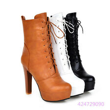 Sexy Womens Ladies OL Mid Calf Boots High Heels Lace Up Shoes AU All Size Y1308