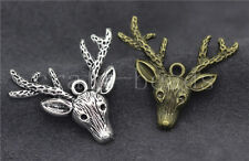 Lot 5/20/100pcs Antique Silver/Bronze Lovely Deer Head Charms Pendant 36x32mm