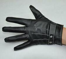 Men's Black Fashion Genuine Leather Winter Wrist Gloves Driving Gloves 3 Lines