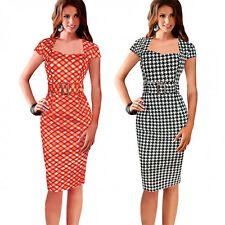 New Rockabilly 1950s Elegant Work Cocktail Party Office Wiggle Pencil Belt Dress