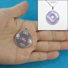 Sterling Silver 925; Butterflies on 26mm Lavender Jade Cabochon Pendant