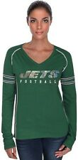 New York Jets NFL Majestic Her Route Long Sleeve Green V Neck Shirt Plus Sizes