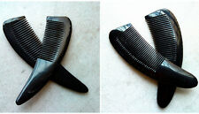 16-18cm QIAOYATOU Natural Black Ox Horn Unisex Fine-toothed Health Care Comb