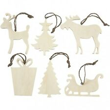 Christmas Decoration Plain Wooden Shape - Tree Sleigh Reindeer - Paint Decorate