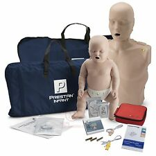 CPR Training Kit w Prestan Adult & Infant Manikin w MON + AED Practi-Trainer Ess