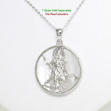 Solid Sterling Silver 925 Guan Gong on 28mm White Tablet Mother of Pearl Pendant