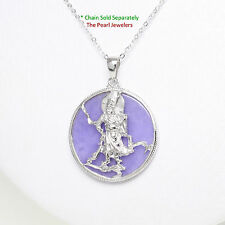 Solid Sterling Silver 925 Guan Gong on a 28mm Tablet Lavender Jade Pendant
