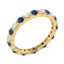 Natural Round Diamond & Blue Sapphire 14k Yellow Gold Full-Eternity Band Ring