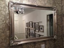 Large Antique Silver shabby chic ornate Decorative over mantle Wall Mirror