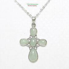 Solid Sterling Silver 925 Carved Celadon Green Jade Christian Cross Pendant