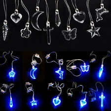 LED Blue Magnetic Light Charm Pendant Necklace Gift Xmas Birthday Dancing Party