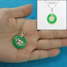 Solid Sterling Silver 925 Dragon Design 20mm Green Jade Lucky Pendants