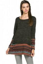 Warm Knit Nordic Contrast Long Sleeve tunic Top- Mitto - Black/Rust S-M-L