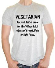 ' Vegeterian , the village IDIOT! ' Vegetarian Funny Tee - Mens Funny T-Shirt