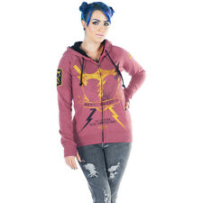 Women's Angry Blossom Bolted Zip Up Hoodie Red Broken Heart Breaker