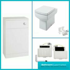 Back to Wall BTW Square WC Pan Toilet Concealed Cistern, Seat & WC Units