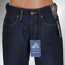 Ai AUTHENTIC ICON Young Men's DARK BLUE JEANS Slim Fit STRAIGHT LEG Stud Accents
